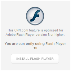 CNN's Flash Player error message