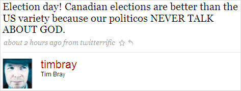 Tweet on Elections in Canada