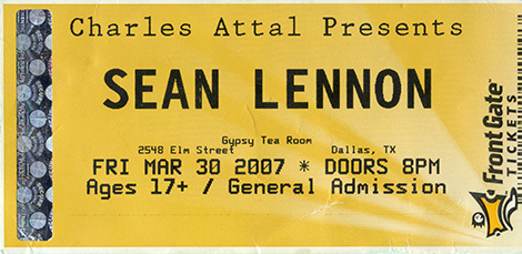 Sean Lennon ticket