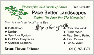 Pace Setter business card